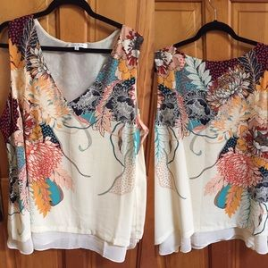 Rose+Olive sleeveless blouse w/ multicolor floral